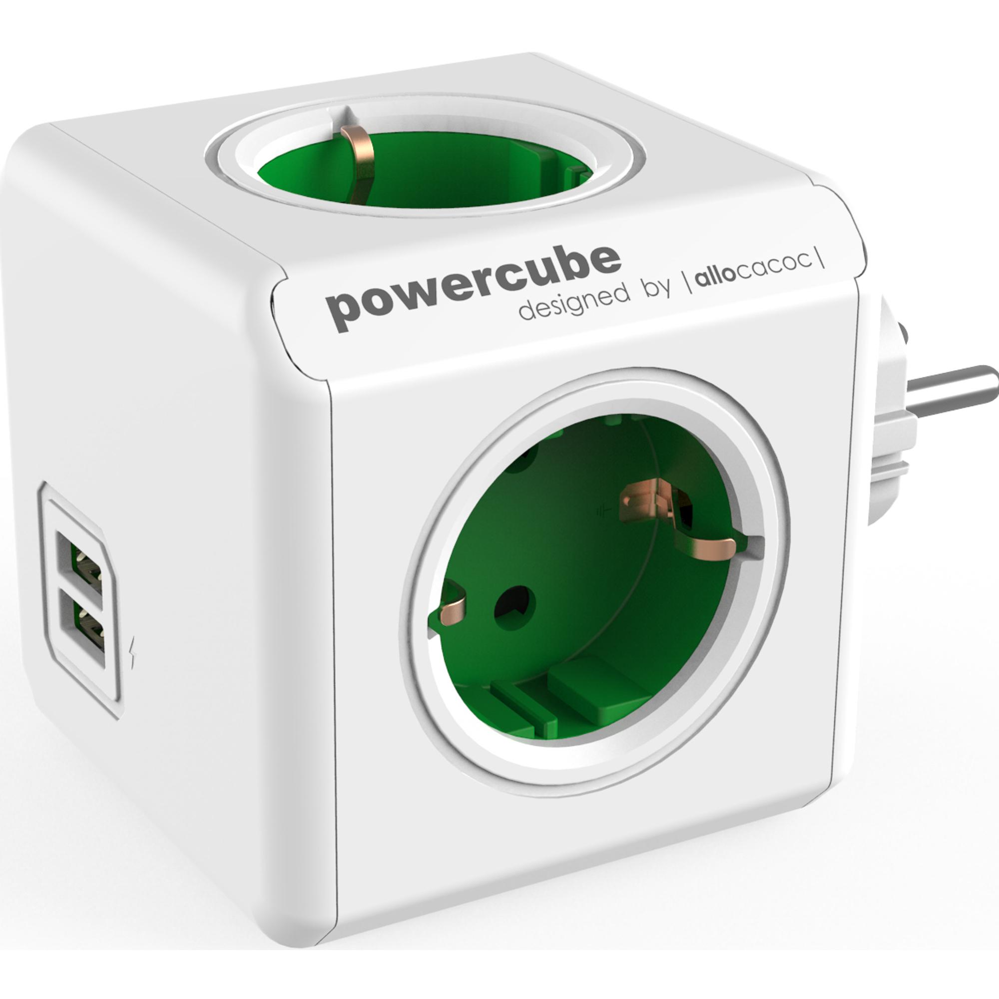 Фото - Разветвитель Allocacoc PowerCube Original USB зеленый разветвитель allocacoc powercube extended usb серый