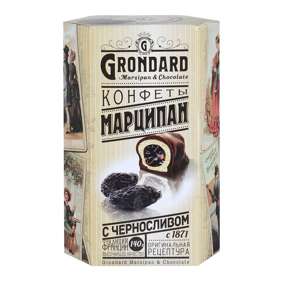 Конфеты Grondard марципан с черносливом в шоколадной глазури 140 г конфеты malibu кокосовые в молочной шоколадной глазури 140 г