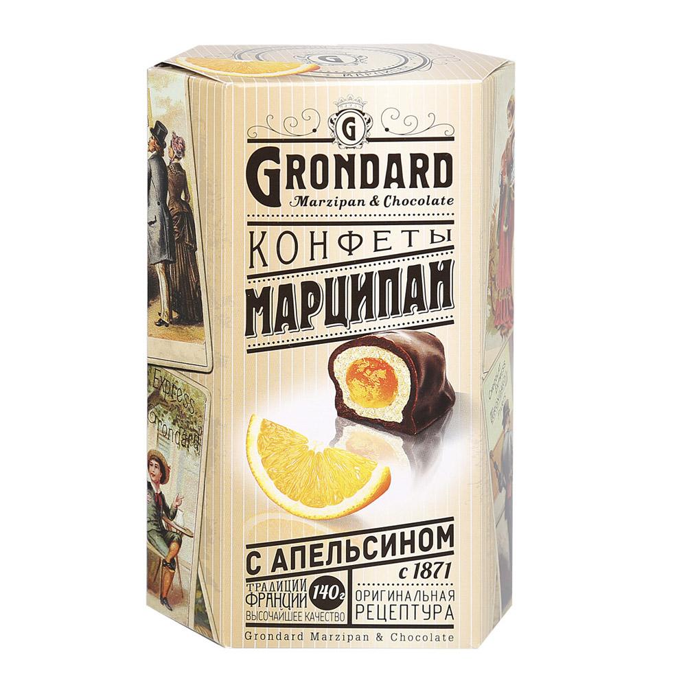 Конфеты Grondard марципан с апельсином в шоколадной глазури 140 г конфеты malibu кокосовые в молочной шоколадной глазури 140 г