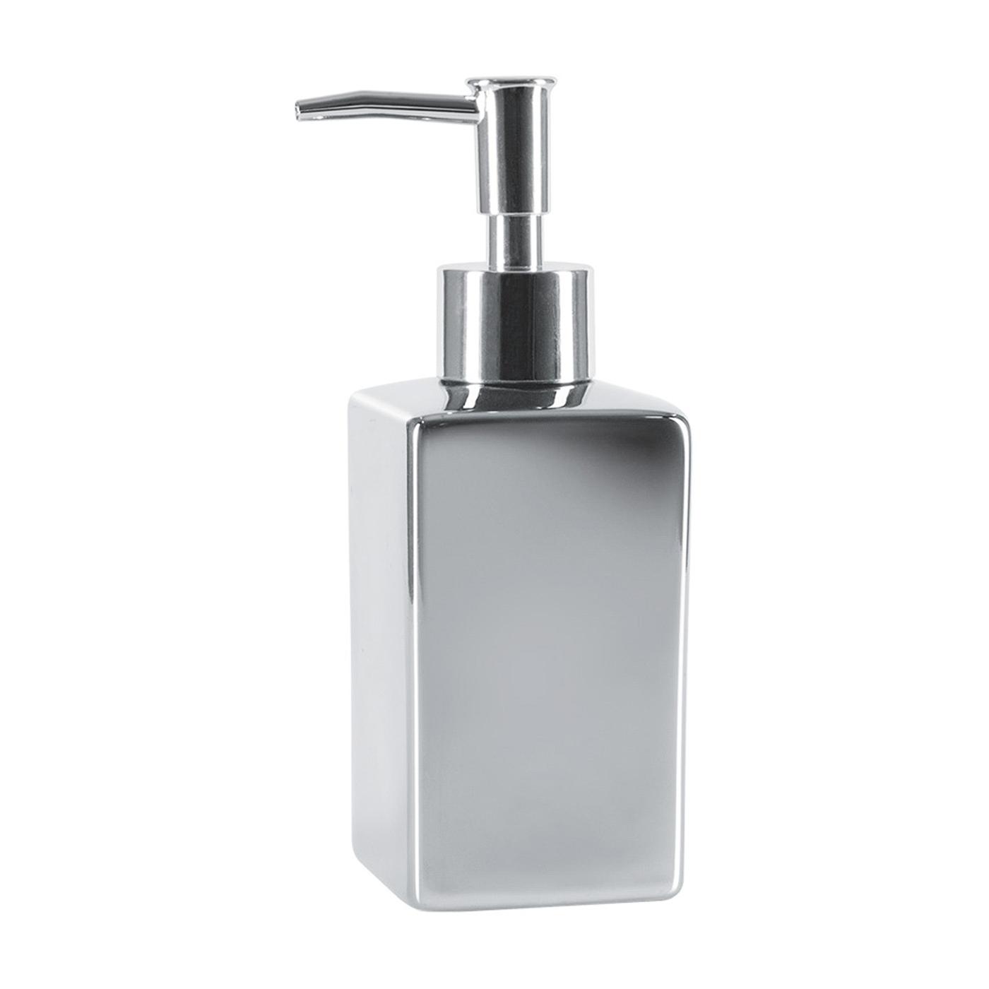 Фото - Дозатор для жидкого мыла Spirella Quadro серебряный 6,5х6,5х17,5 см дозатор для жидкого мыла spirella sydney серый 7х18 5 см