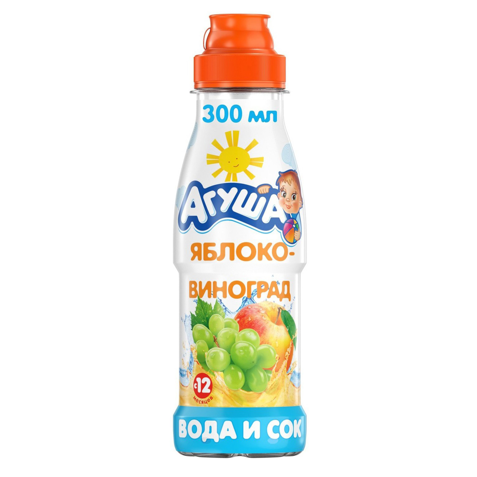 Вода с соком Агуша яблоко-виноград с 12-ти месяцев 300 мл