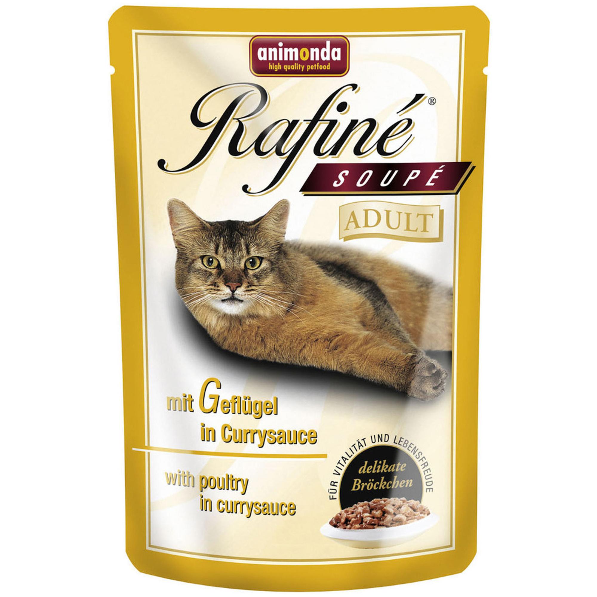 Фото - Корм для кошек ANIMONDA Rafine Soupe домашняя птица в сливочном соусе 100г влажный корм для кошек animonda rafine 24шт х 100 г кусочки в соусе