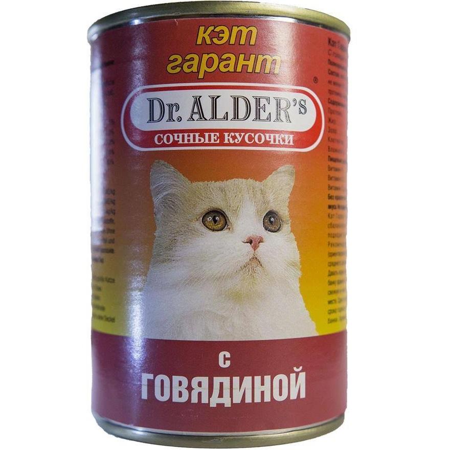 Корм для кошек Dr. Alders Cat Garant Сочные кусочки в соусе, говядина 415 г