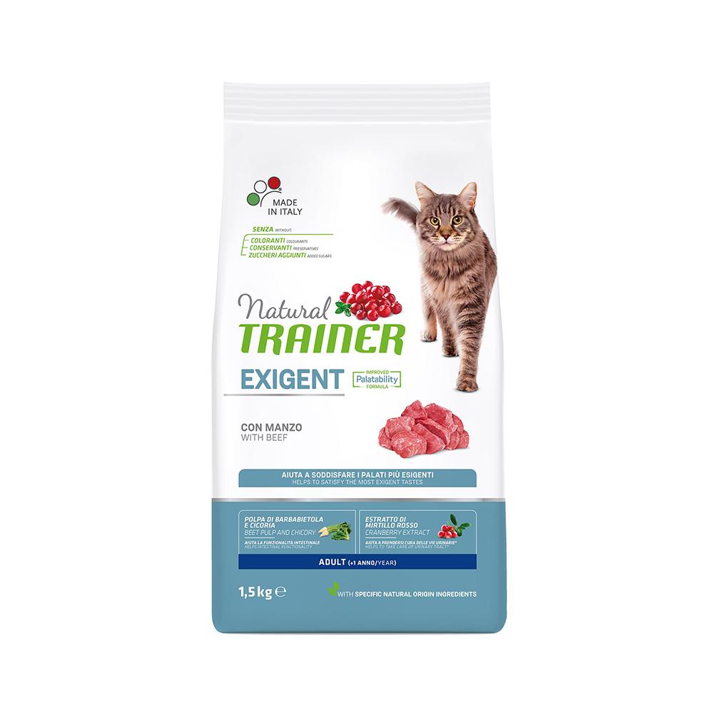 Корм для кошек TRAINER Natural Exigent Cat привередливых, говядина, свежая курица 1,5 кг