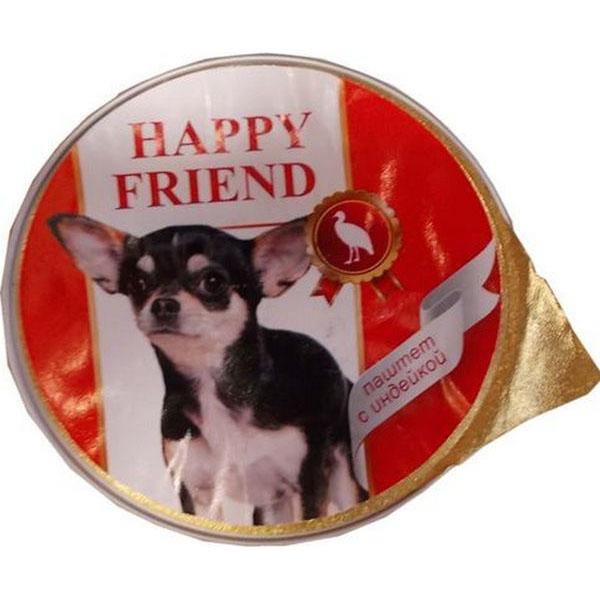 Корм для собак HAPPY FRIEND Паштет с индейкой 125 г.