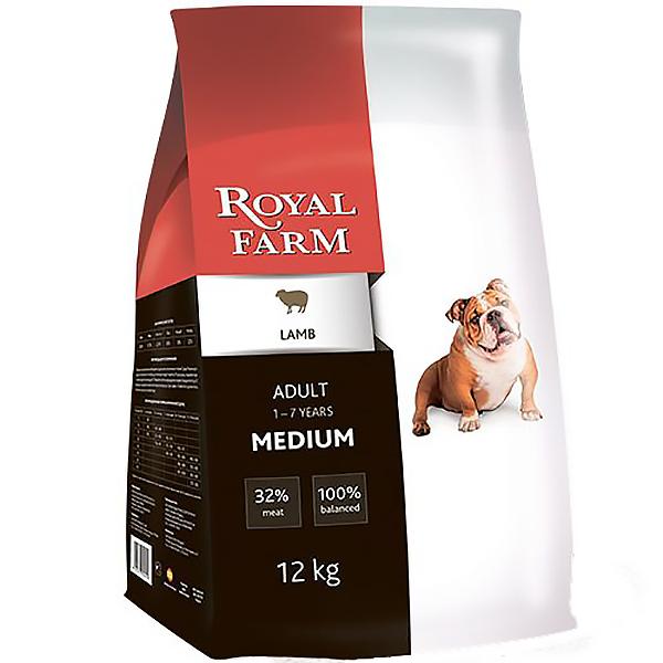 Корм для собак Royal Farm для средних пород, ягненок 12 кг корм для собак royal farm для супер мелких пород ягненок сух 500г
