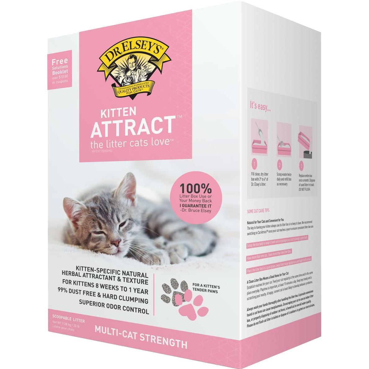 Купить Наполнитель Dr.Elsey's Kitten Attract для котят 9, 08 кг, комкующийся, серый