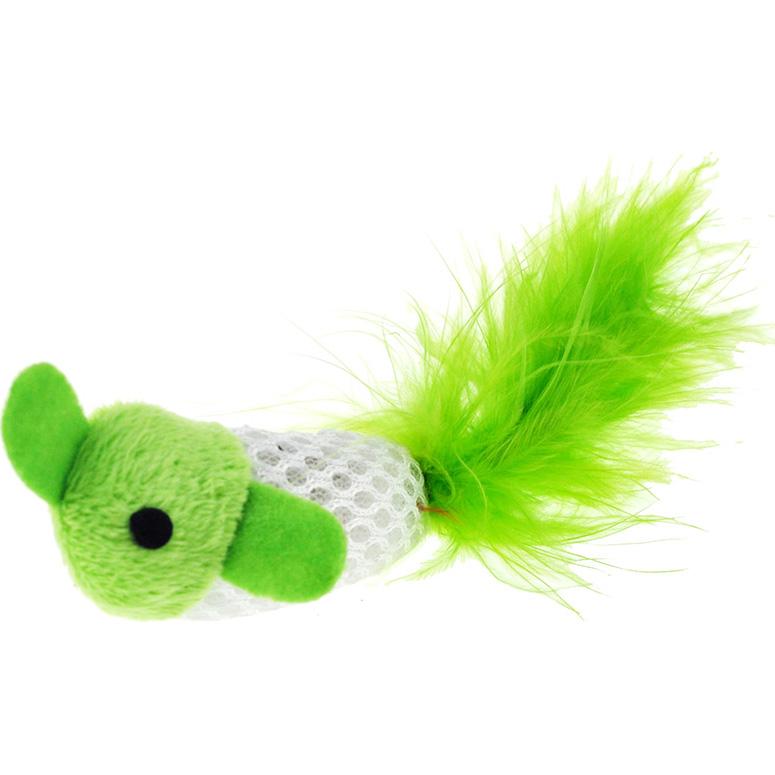 Купить Игрушки для кошек CHOMPER Bright Рыбки с хвостом из пера с кошачьей мятой 2 шт, фигура животного, зеленый, полиэстер, перо