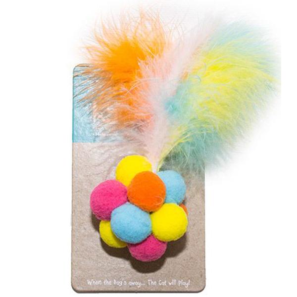Игрушка для кошек CHOMPER Неон Мяч из помпонов.
