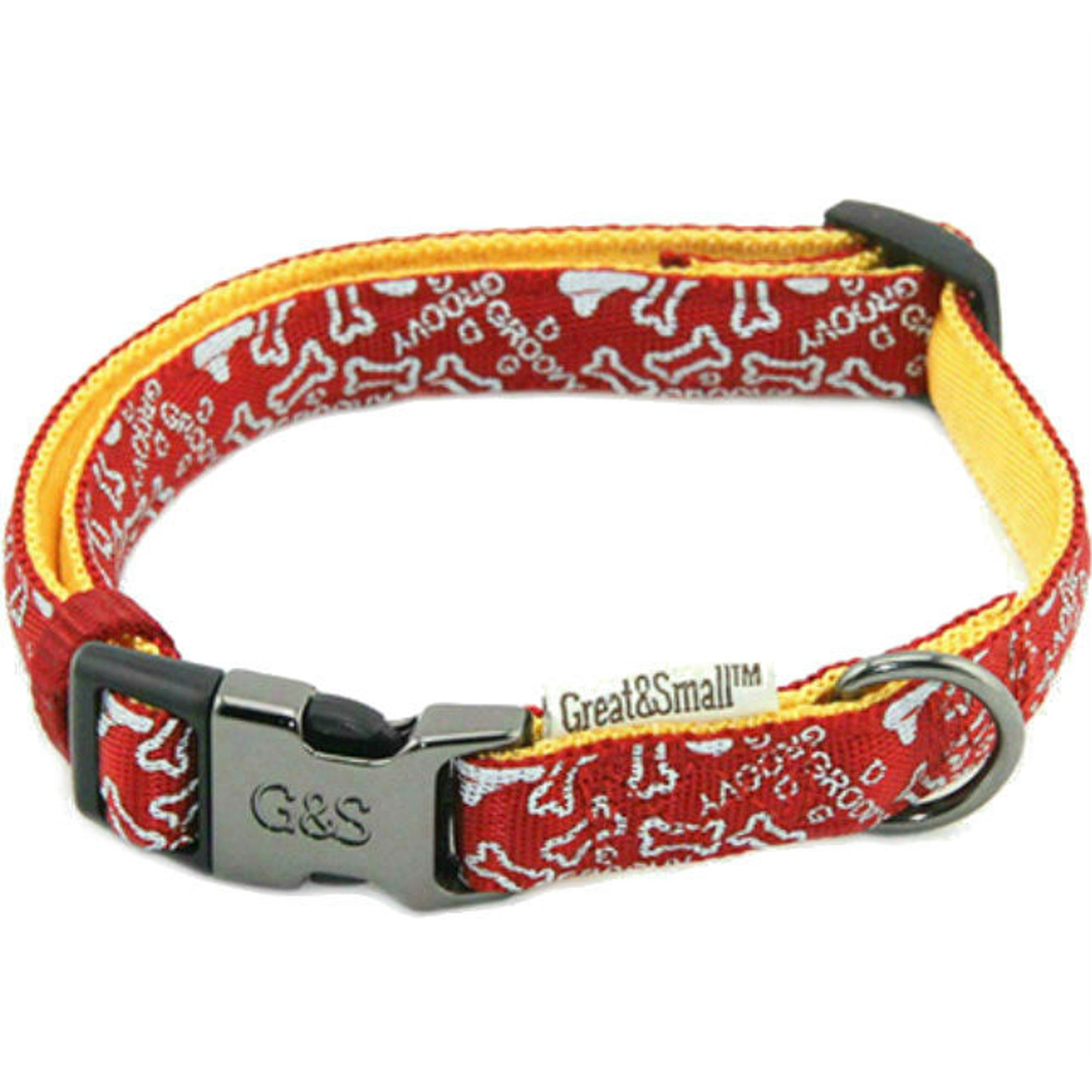 Ошейник для собак GREAT&SMALL с принтом косточки 10х200-350мм нейлон красный