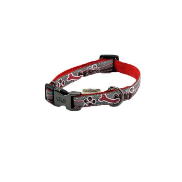 Ошейник для собак GREAT&SMALL Светоотражающий 10х200-350мм красный