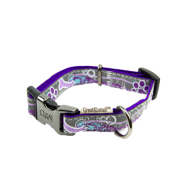 Ошейник для собак GREAT&SMALL Светоотражающий 20х350-550мм фиолетовый