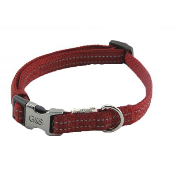 Ошейник для собак GREAT&SMALL Со светоотражающей острочкой 10х200-350мм красный