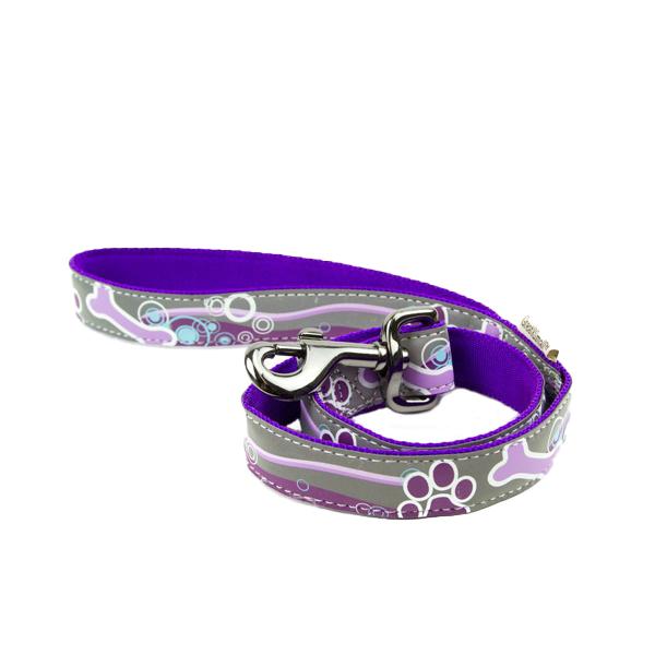 Поводок для собак GREAT&SMALL Светоотражающий 15x1200мм фиолетовый