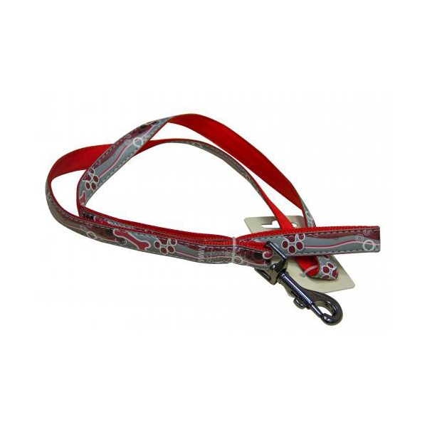 Поводок для собак GREAT&SMALL Светоотражающий 20x1200мм красный