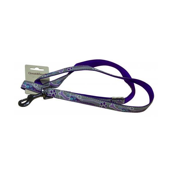 Поводок для собак GREAT&SMALL Светоотражающий 25x750мм фиолетовый