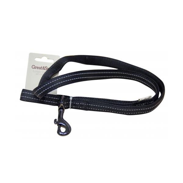 Поводок для собак GREAT&SMALL Со светоотражающей острочкой 25x750мм черный фото