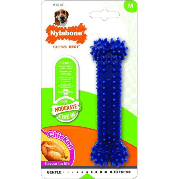 Игрушка для собак NYLABONE Косточка Dental умеренно жесткая с ароматом курицы M фото