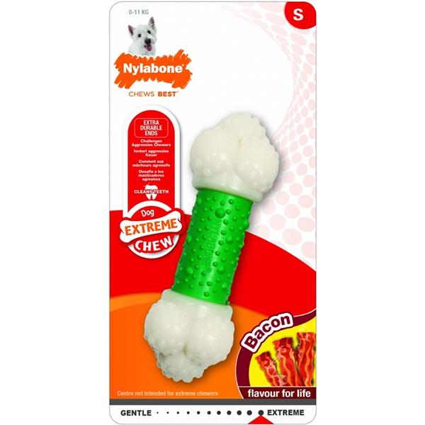 Игрушка для собак NYLABONE Косточка Double Action экстра жесткая с ароматом бекона S фото