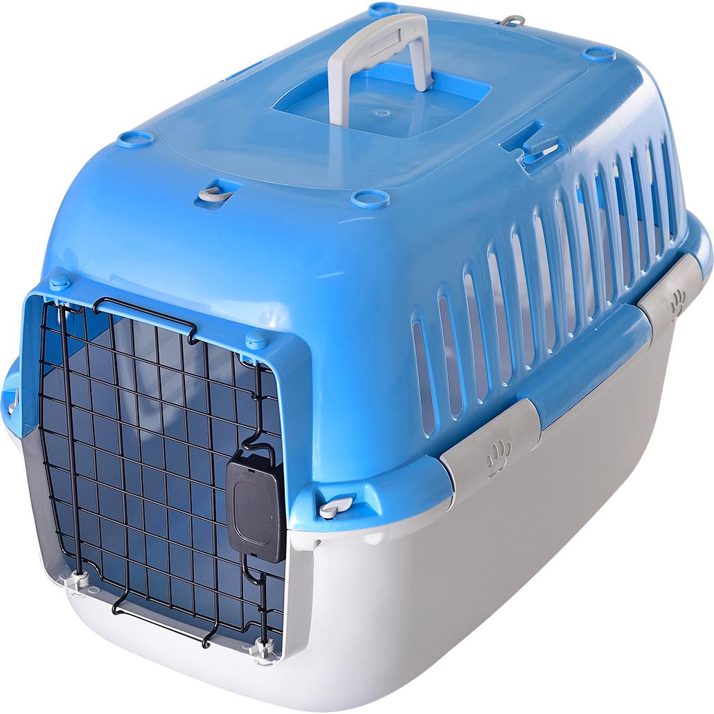 Купить Переноска для животных FAUNA international Explorer Sport голубая/серая 57x38x38 см, переноска, голубой, серый, пластик, металл
