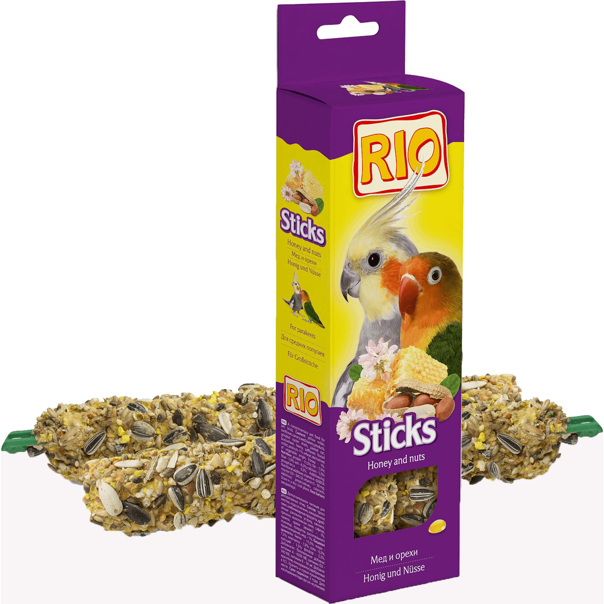 Фото - Лакомство RIO Sticks Палочки для средних попугаев с медом и орехами 150г лакомство для средних попугаев зоомир веселый попугай две палочки любимые орехи 70 г