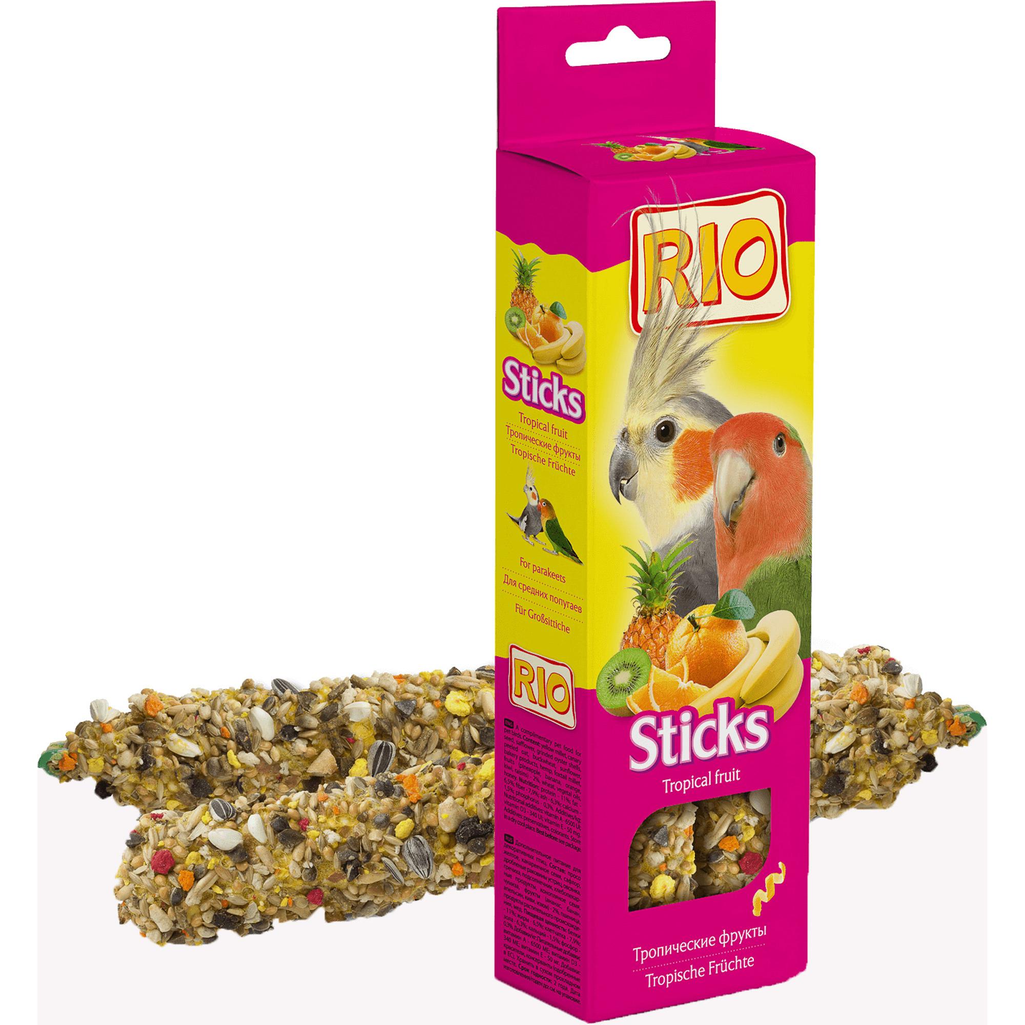 Лакомство RIO Палочки для средних попугаев с тропическими фруктами 150г rio rio палочки для средних попугаев с медом и орехами 2 шт 75 г