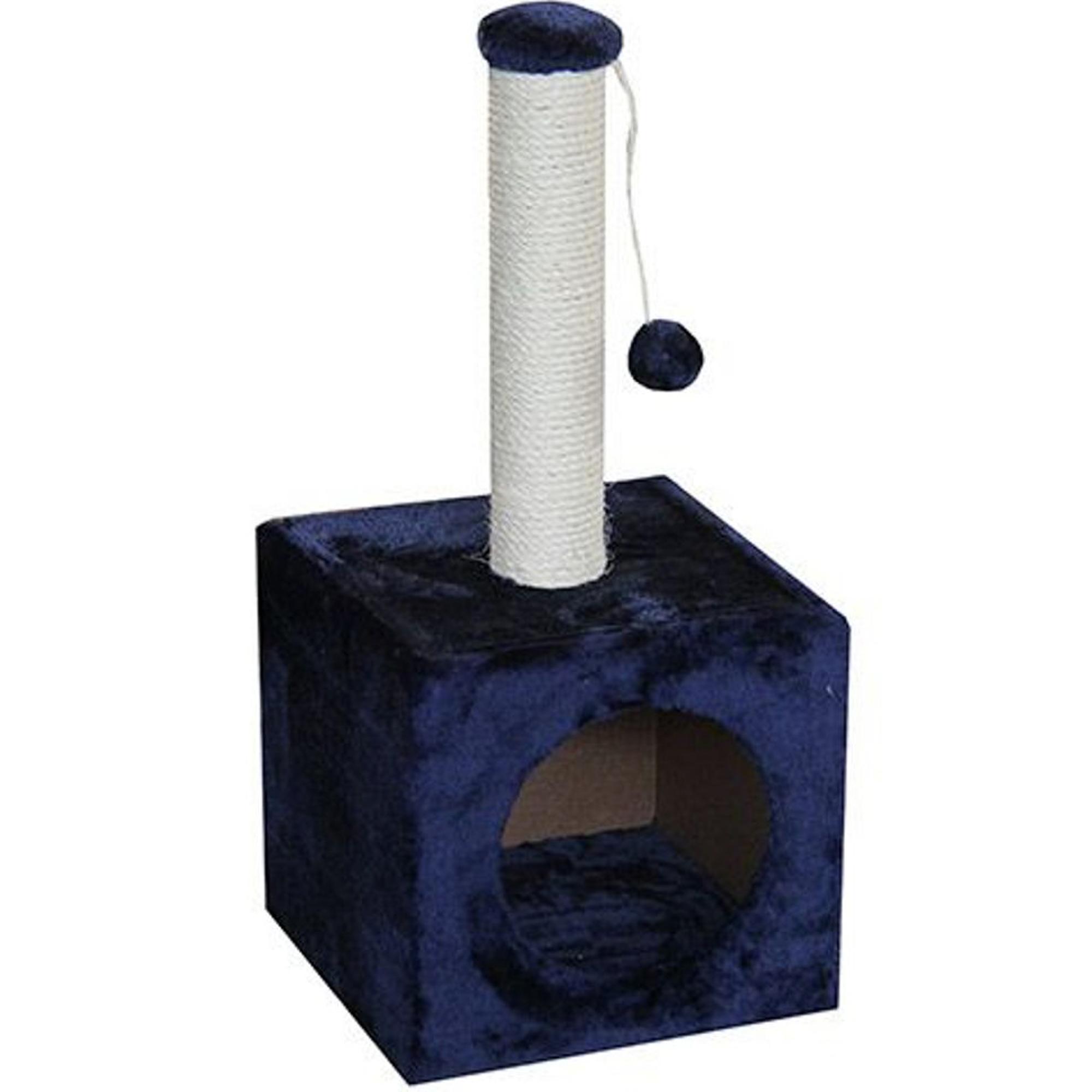 Когтеточка для котят MAJOR Домик с игрушкой 31х31х67см синий.