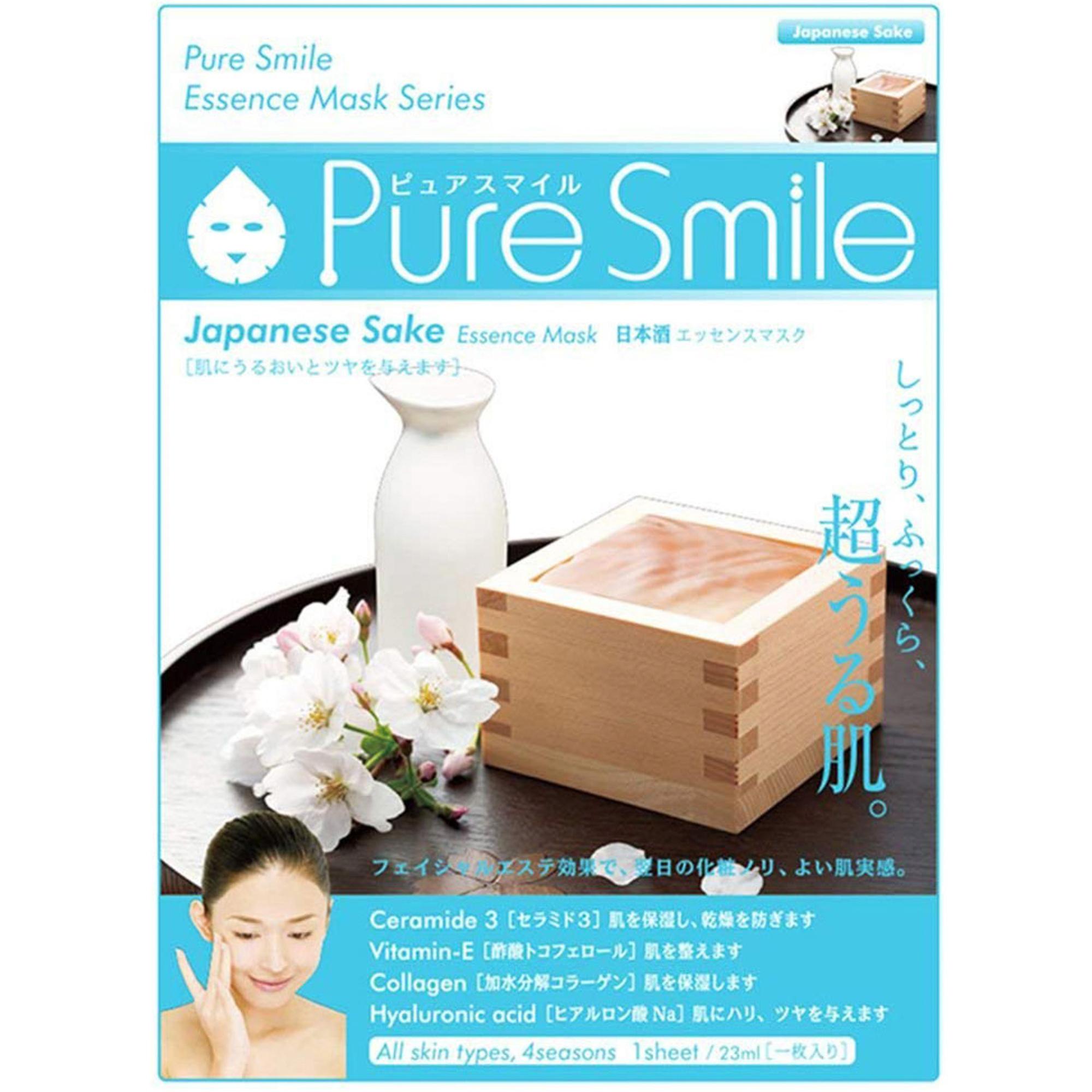 Маска для лица SunSmile Pure Smile Essence Mask Japanese Sake 23 мл фото