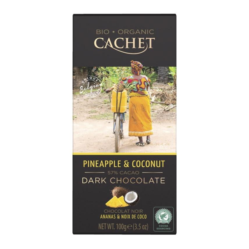 шоколад cachet organic органический горький 57% с абрикосом и лесным орехом 100 г Шоколад Cachet Organic органический горький 57% с кокосом и ананасом 100 г