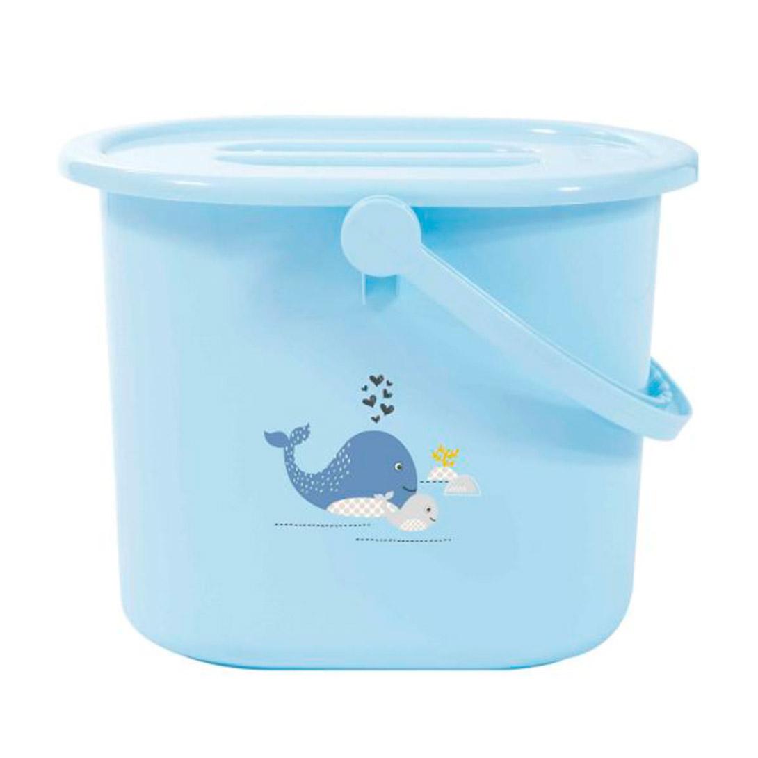 Ведро Bebe Jou для наполнения слива ванночки и использованных подгузников голубой Китенок контейнер для влажных салфеток bebe jou ментол совушки