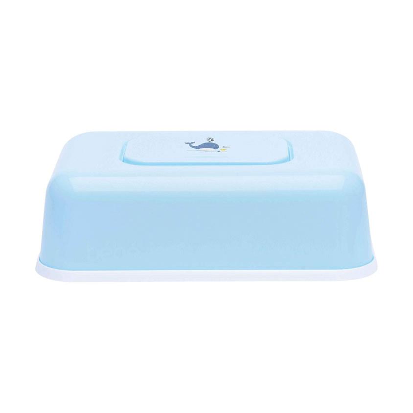 Футляр Bebe Jou пластиковый для влажных салфеток голубой Китенок недорого