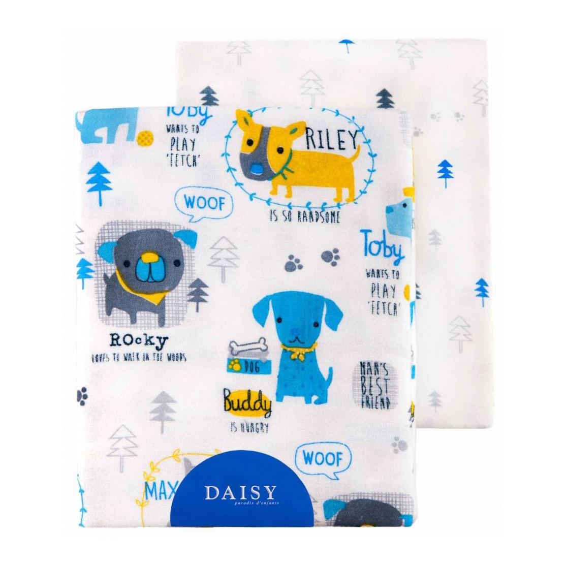 Купить Пеленка Daisy фланель Собачки 90*145 2 шт, Голубой, 100% хлопок, Для детей,