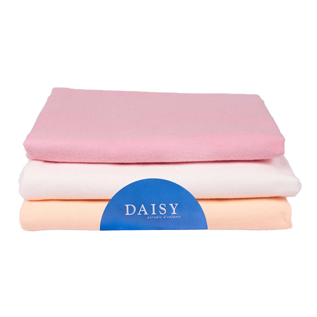Купить Пеленка Daisy фланель 90*120 розовая 3 шт, Розовый, 100% хлопок, Для детей,
