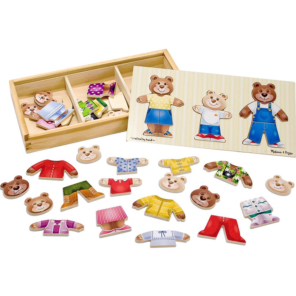 Купить Игровой набор Melissa & Doug Пазл Переодень семью мишек, разноцветный, дерево, для мальчиков, для девочек, Наборы игровые