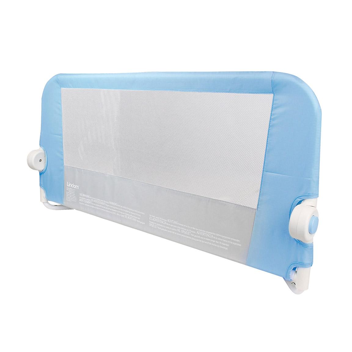 Бортик защитный Munchkin Lindam для кровати на металическом каркасе с тканью голубой 95 см фото