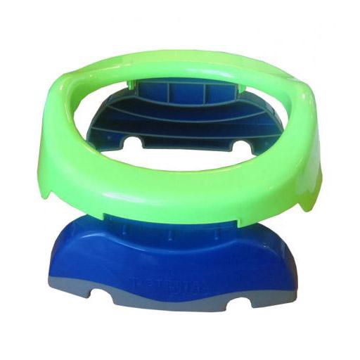 Горшок складной Potette Plus для путешествий зеленый/голубой фото