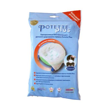 potette plus салфетки potette plus 2 в 1 my wipes 20 влажных и 10 сухих 100% органические салфетки бежевый Сменные пакеты Potette Plus для складного горшка 30 штук