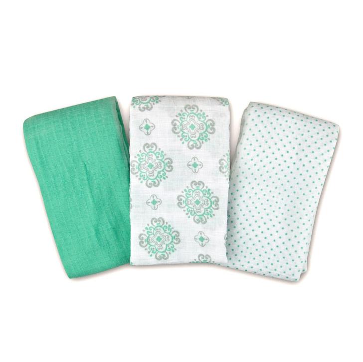 Купить Набор пеленок Summer Infant Muslin Swaddleme зеленый 3 шт, Зеленый, 100% муслин (тонкотканный хлопок), Для детей,