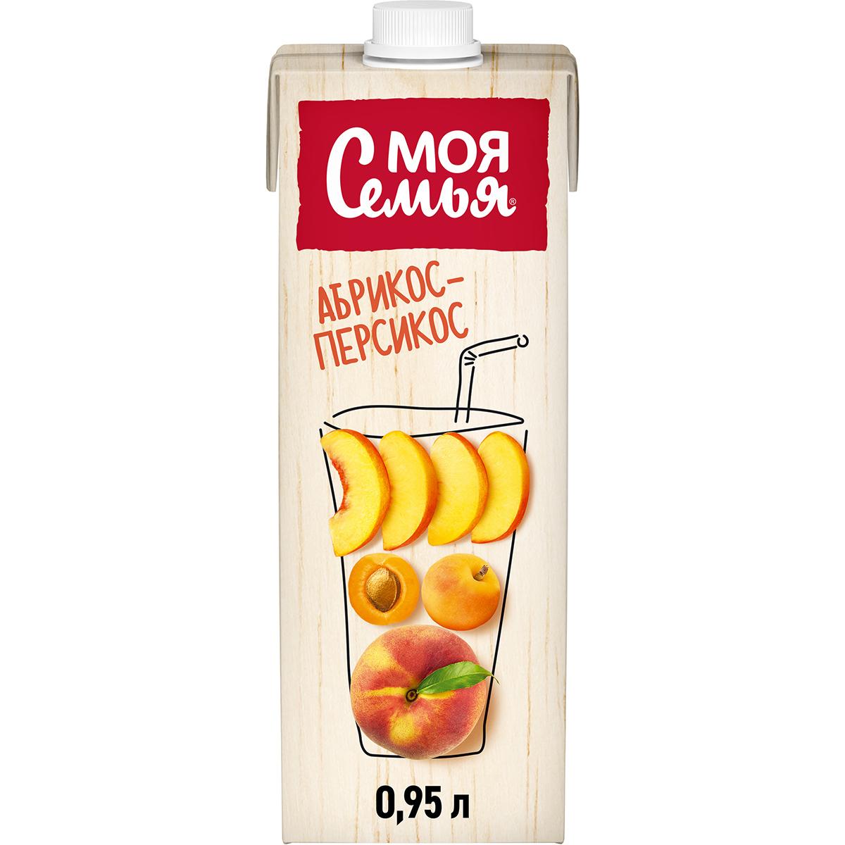 Напиток сокосодержащий Моя Семья из яблок, персиков и абрикосов 0,95 л