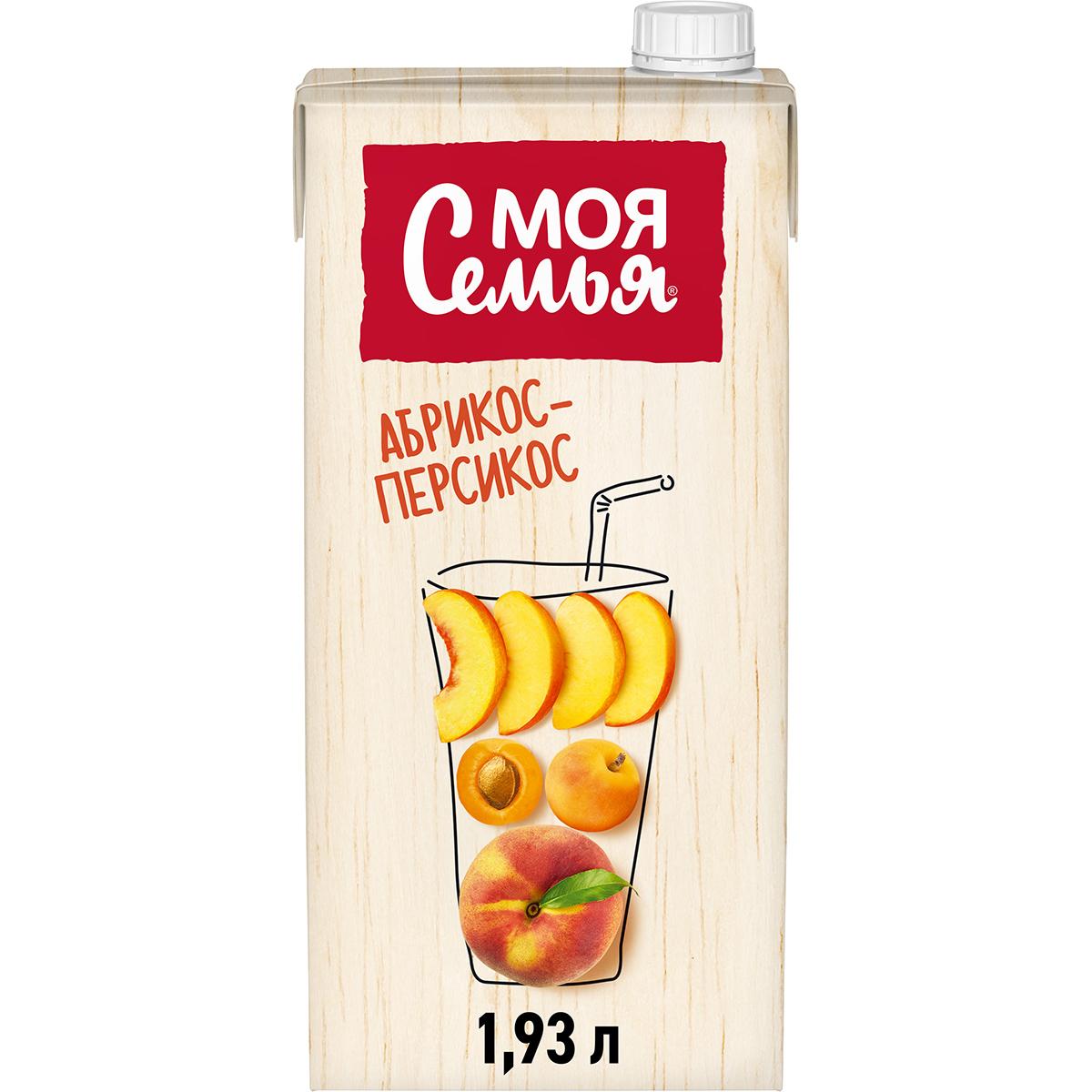 Напиток сокосодержащий Моя Семья из яблок, персиков и абрикосов 1,93 л