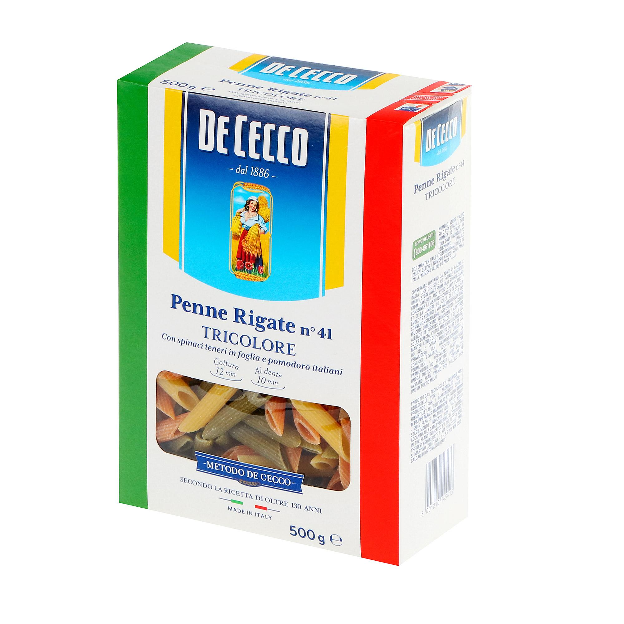 Макароны De Cecco Rigate Tricolore 500 г макароны de cecco rigate tricolore 500 г