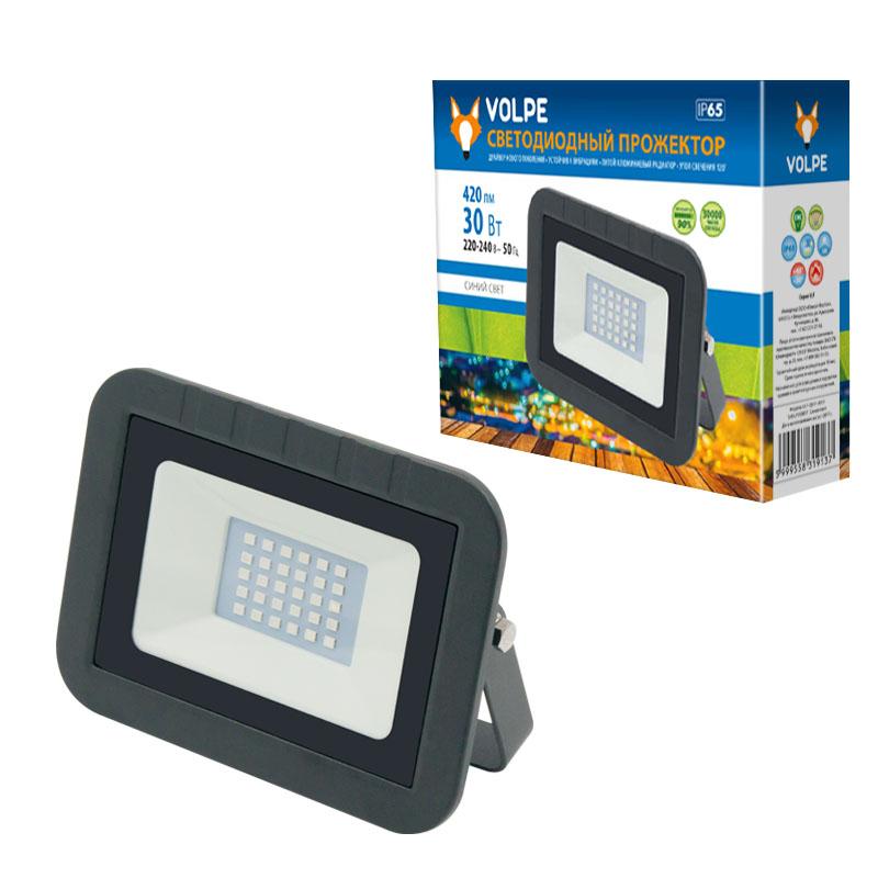 Уличный светодиодный прожектор Uniel Volpe ULF-Q511 30W/BLUE IP65 светильник volpe уличный светодиодный консольный ul 00006084 ulv q610 30w 6500к ip65 black