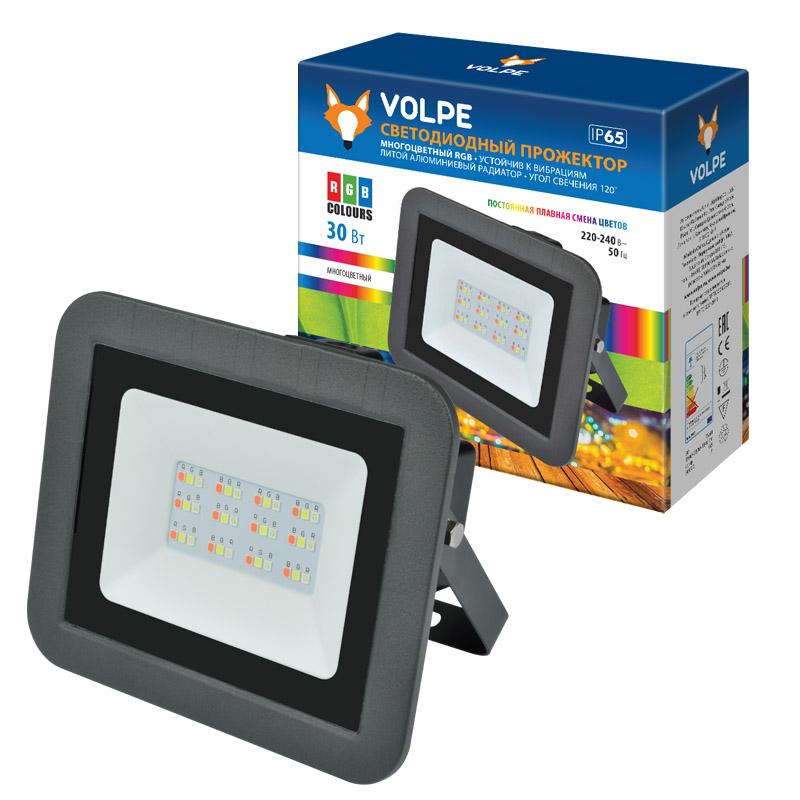 Уличный светодиодный прожектор Uniel Volpe ULF-Q511 30W/RGB IP65 светильник volpe уличный светодиодный консольный ul 00006084 ulv q610 30w 6500к ip65 black