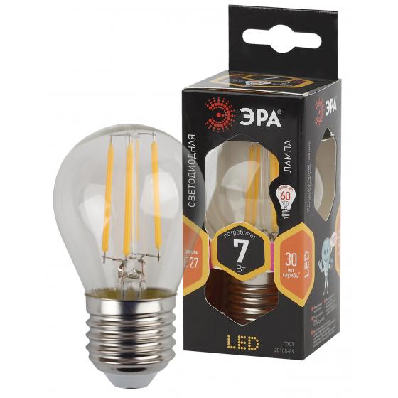 Фото - Лампа ЭРА F-LED P45-7w-827-E27 филаментная шарик теплый свет эра б0027946 светодиодная лампа шарик f led p45 7w 827 e14