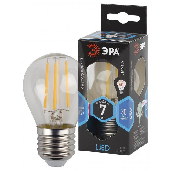 Фото - Лампа ЭРА F-LED P45-7w-840-E27 филаментная шарик холодный свет эра led p45 7w 840 e14 б0020551