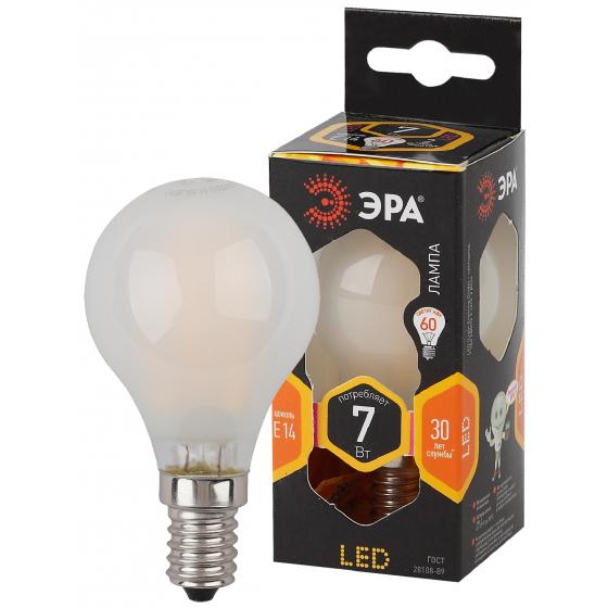 Фото - Лампа ЭРА F-LED P45-7w-827-E14 frozed филаментная шарик теплый свет матовая эра б0027946 светодиодная лампа шарик f led p45 7w 827 e14