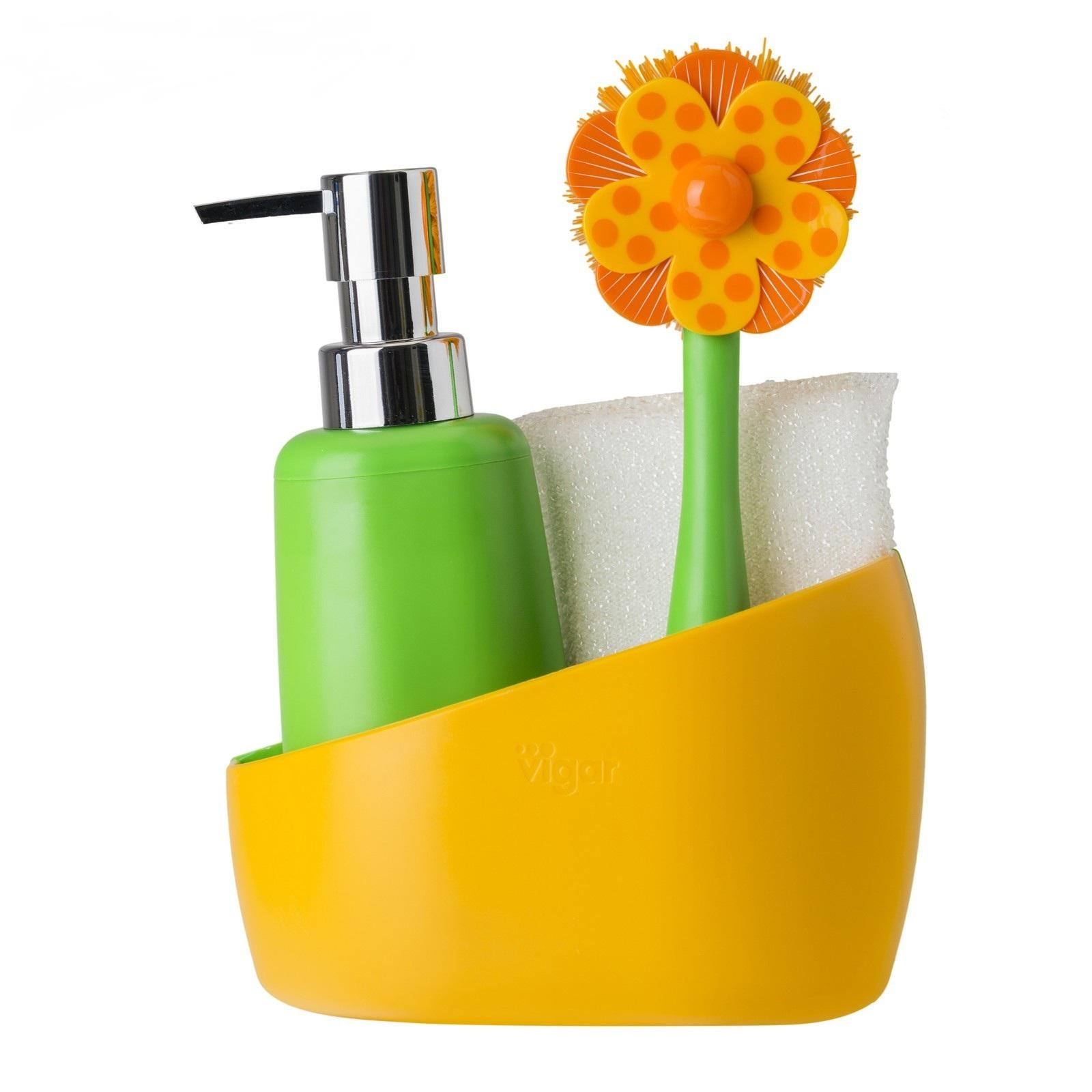 Набор для мытья посуды Vigar Lolaflor 4 предмета дозатор щетка для посуды губка на подставке lolaflor quelle vigar 1011713