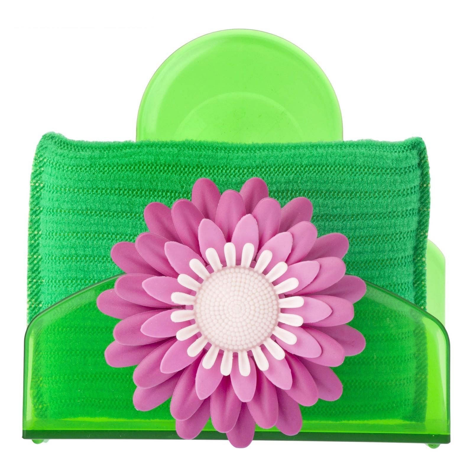 Губка для посуды с подставкой Vigar Flower Power 3486 дозатор щетка для посуды губка на подставке lolaflor quelle vigar 1011713