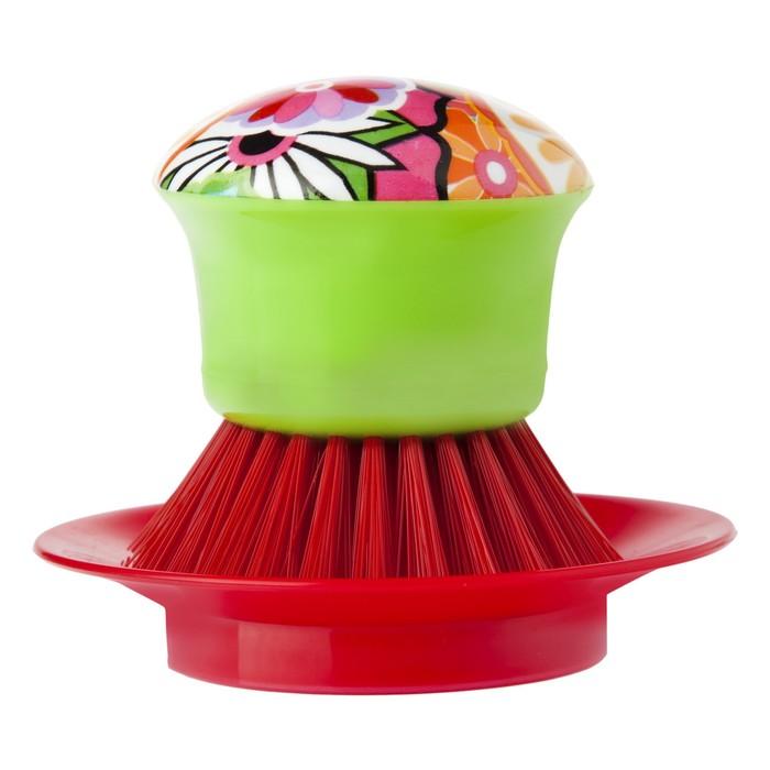 Щетка для посуды с подставкой Vigar Citric Red 4587 дозатор щетка для посуды губка на подставке lolaflor quelle vigar 1011713