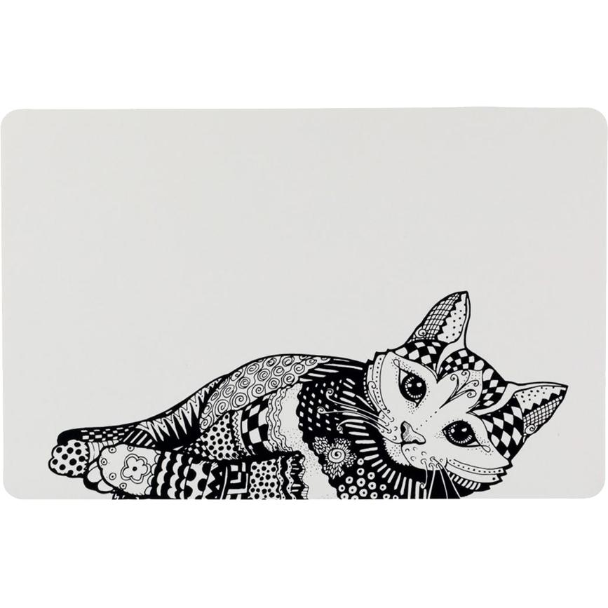 Купить Коврик под миску Trixie Zentangle 44х28 см, коврик под миску, белый, черный, пластик